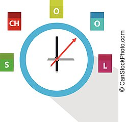 School clock icon isolated  on white background