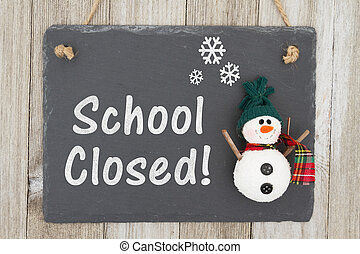 School Closed sign with a snowman - School canceled sign, A...