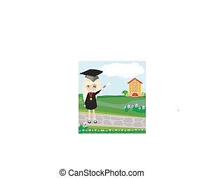 school-college, 卒業, -, 女の子