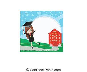 school-college, graduação, -, menina