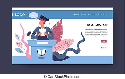 School college or university graduation student in academic hat and mantle