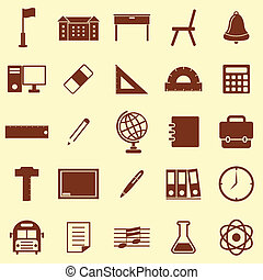 School color icons on brown background