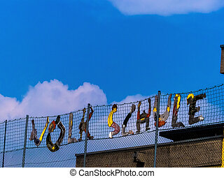 school, colorful font