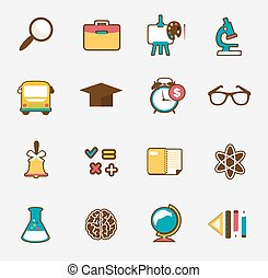 School colorful icon set