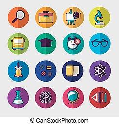 School colorful icon set
