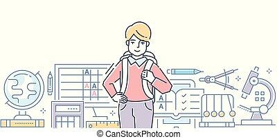 School - colorful line design style vector illustration