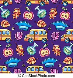 School colorful seamless vector pattern.