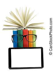 school., colorido, espacio, concept., espalda, libro de la...