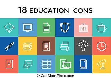 school, communie, iconen, scholieren, set., symbool., wetenschap, vector, universiteit, ontwerp, opleiding, of, liggen