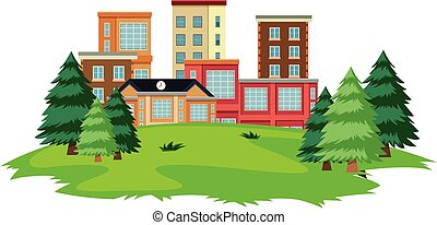 School compound with playground park illustration