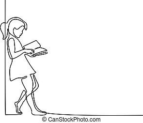 school, concept, back, book., girl lezen