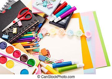 school, concept, back, kantoor, stationary.