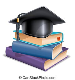School concept - Black graduation cap on stack of books. ...