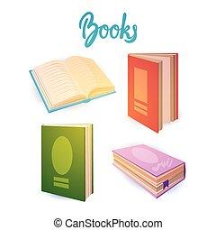 school, concept, boekjes , set, opleiding