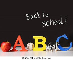 school, concept, brieven, back, alfabet