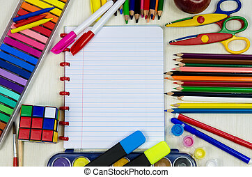 school concept - colorful school office supplies with...