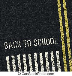 school., concept., espalda, vector, eps8, seguridad, camino