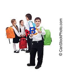 school, concept, groep, back, geitjes