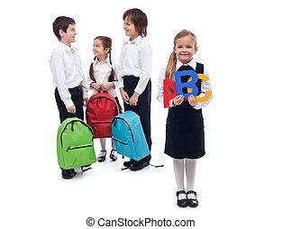 school, concept, groep, back, klesten, geitjes