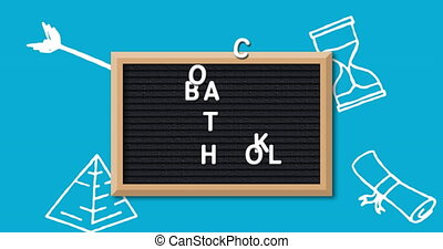 School concept icons against back to school text on blackboard