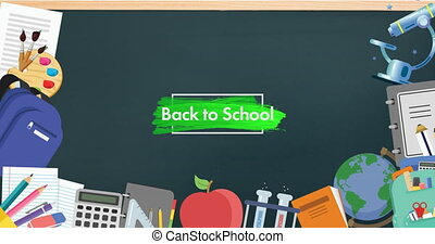 School concept icons against back to school text on ...