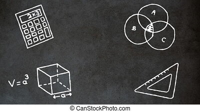 School concept icons against blackboard - Animation of ...