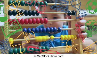 School concept icons against boy playing abacus in school - ...