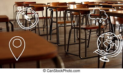 School concept icons against empty classroom - Animation of ...