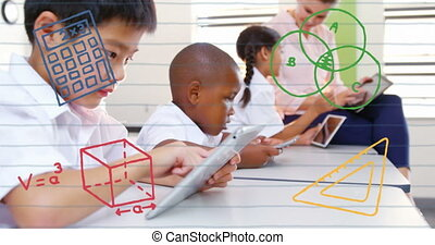 Animation of mathematical equations floating over schoolchildren and teacher using tablet computers with classroom in the background. Education back to school concept digitally generated image.
