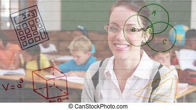 School concept icons against female teacher smiling