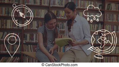 School concept icons against female teacher teaching student in library