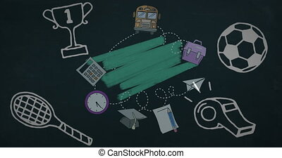 School concept icons against green chalk marks - Animation ...
