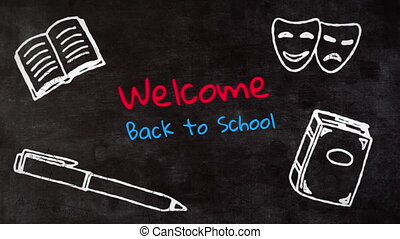 School concept icons and welcome to school text against black background