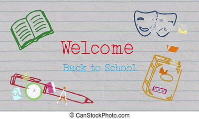 School concept icons and welcome to school text against lined paper