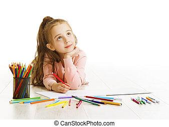 school, concept, kind, tekening, dromen, witte , opleiding, meisje, geitje