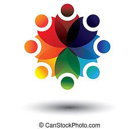 school, concept, kleurrijke, geitjes, vector, leren, cirkel