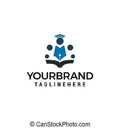 school, concept, mensen, vector, ontwerp, mal, logo, opleiding