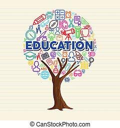school, concept, schets, boompje, set, opleiding, pictogram