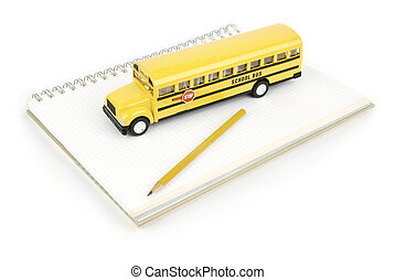 School concept - school bus and notebook with pen isolated...