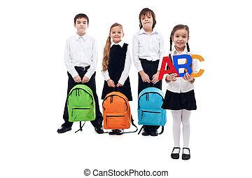 school, concept, schooltassen, back, geitjes, vasthouden