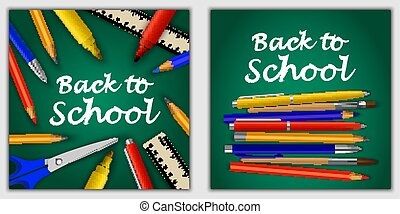 school, concept, set, stijl, back, realistisch, spandoek