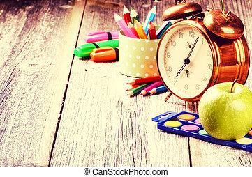school, concept, supplies., back, kleurrijke