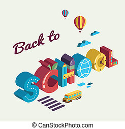 school, concept, tekst, -, back, icons., vector