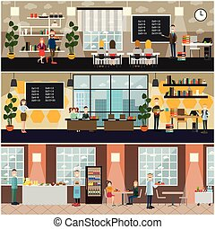 School concept vector flat poster set