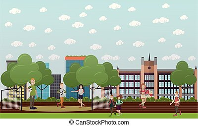 School concept vector illustration in flat style