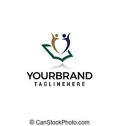 school, concept, vector, ontwerp, mal, logo, opleiding