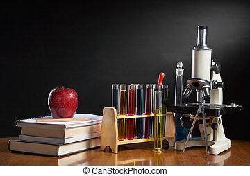 School concept with item represent each subject in school,...