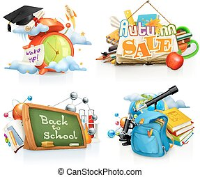 School concepts, 3d vector set