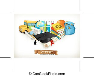 School concepts, isolated on white background