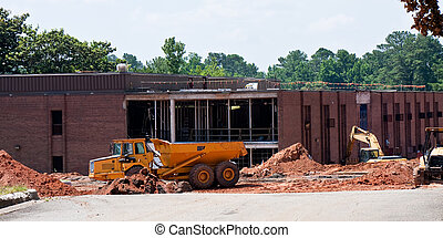 School Construction - A school renovation project with heavy...